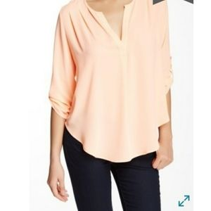Lush blouse pleated shoulders v- split neckline